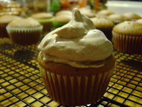 Orange Pumpkin Cupcake with Cinnamon Vanilla Frosting