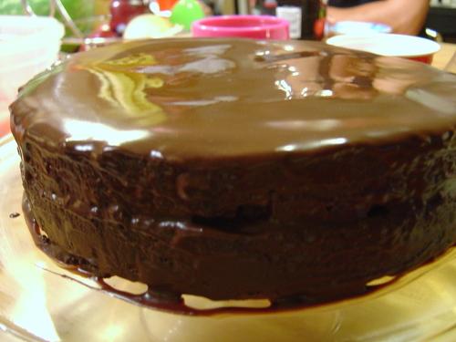 Side view of Raspberry Torte