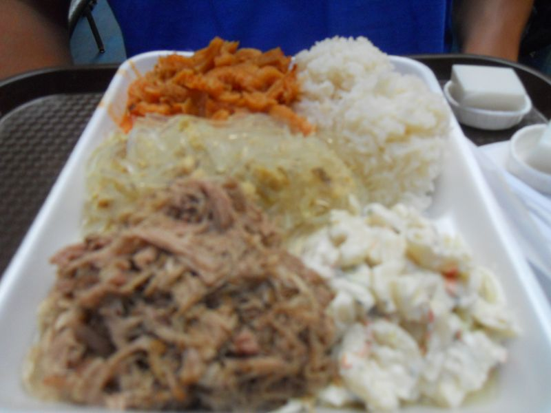 Lau Lau Pork, Chicken Long Rice, Tripe, Rice, and Potato-Mac Salad